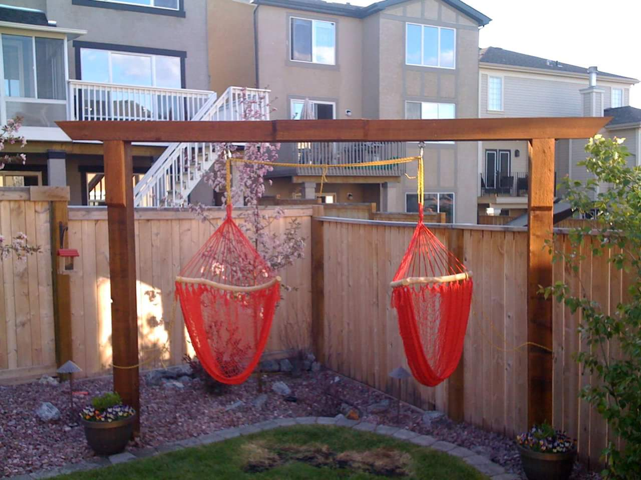 CityScape Landscaping Calgary - backyard hammock and swing construction Landscaping calgary